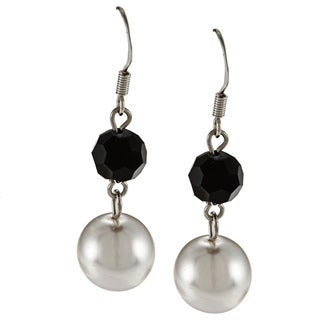 Alexa Starr Silvertone Black and White Faux Pearl Dangle Earrings