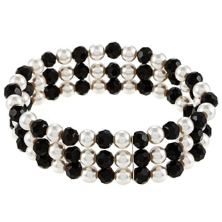 Alexa Starr Casual Faux-Pearl-and-Black Glass Three-Row Stretch Bracelet