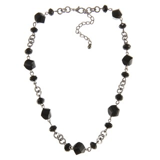 Alexa Starr Silvertone Black Faceted Glass Twisted Bead Short Necklace