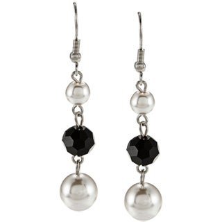 Alexa Starr Silvertone Faux Pearl and Black Glass Triple Drop Earrings