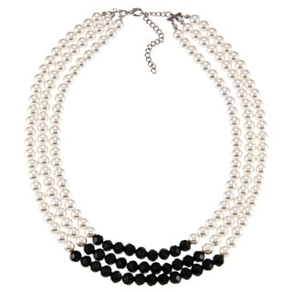 Alexa Starr Silvertone Black Glass and Faux Pearl 3-Row High-Polish Necklace