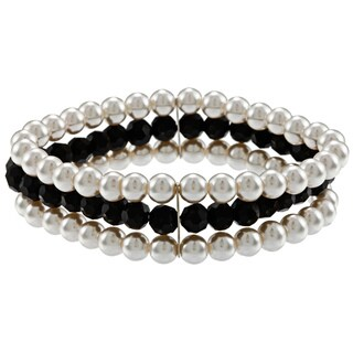 Alexa Starr Faux Pearl and Black Glass 3-row Stretch Bracelet