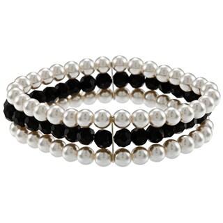 Alexa Starr Faux Pearl and Black Glass 3-row Stretch Bracelet