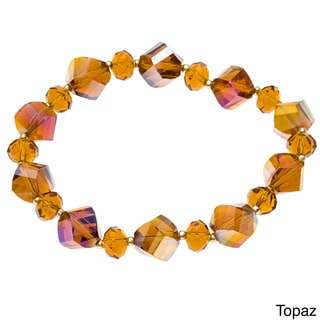 Alexa Starr Faceted Glass Twist Bead Stretch Bracelet