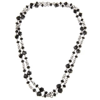 Alexa Starr Silvertone Black Faceted Glass Twist Bead Long Necklace