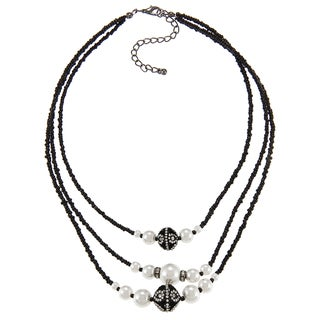 Alexa Starr Silvertone Black Glass and Faux Pearl 3-row Necklace