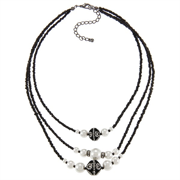 Alexa Starr Silvertone, Black Glass and Faux Pearl 3-row Necklace
