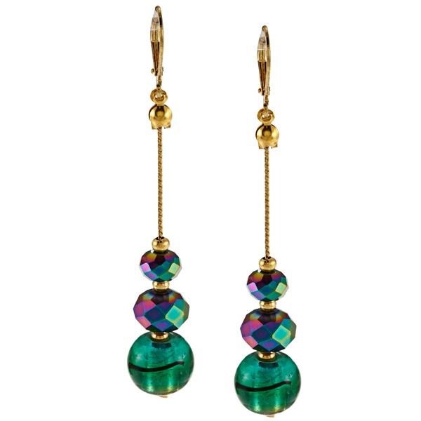 Alexa Starr Goldtone Green Painted Glass Linear Earrings