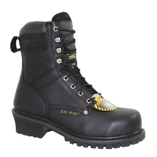 AdTec Men's 'Super Logger' Black Waterproof Steel-toed Boots