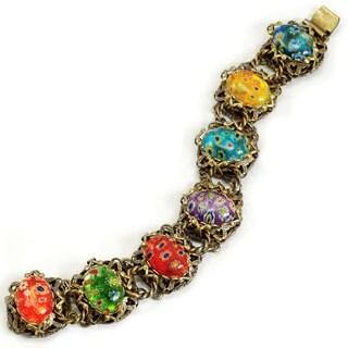 Sweet Romance Candy Glass Ovals Link Bracelet