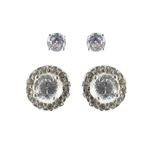Sunstone Sterling Silver Cubic Zirconia Stud and Button Earring Set