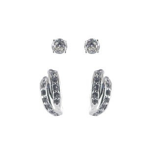 Sunstone Sterling Silver Cubic Zirconia Stud and Half-hoop Earring Duo Set