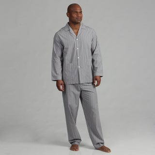 Knothe Lux Men's White/ Black Stripe Cotton Pajamas