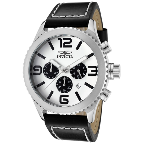 Invicta Men's 'Specialty' Black Genuine Leather Watch