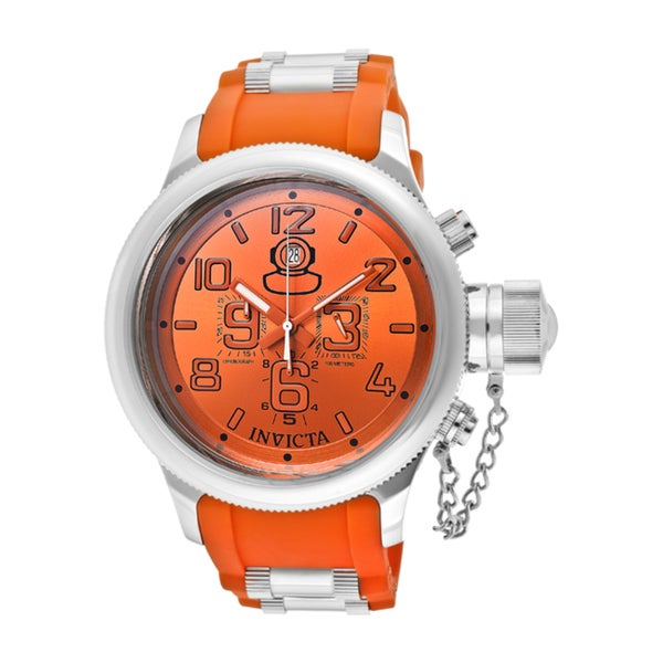 Invicta Men's 'Russian Diver' Orange Polyurethane Watch