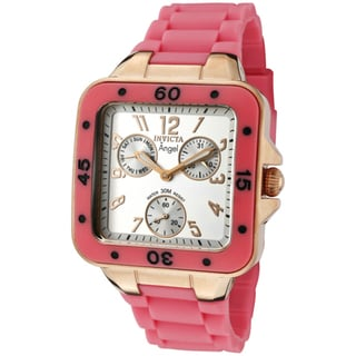 Invicta Women's 'Angel' Neon Pink Rubber Watch
