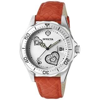 Invicta Women's 'Pro Diver' Red Genuine Calf Leather Watch