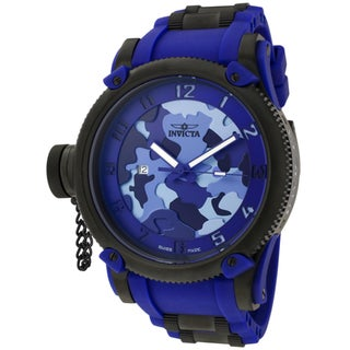 Invicta Men's 'Russian Diver/Siberian Tiger' Blue Rubber Watch