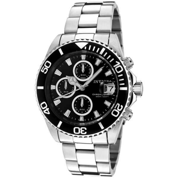 Invicta Men's 1003 'Pro Diver' Stainless Steel Black Dial Watch