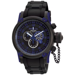 Invicta Men's 'Russian Diver' Black Silicone & Black IP SS Watch