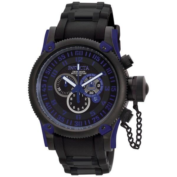 Invicta Men's 'Russian Diver' Black Silicone & Black IP SS Watch
