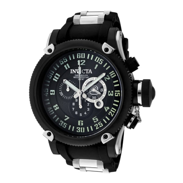Invicta Men's 'Russian Diver' Black Silicone & Stainless Steel Watch