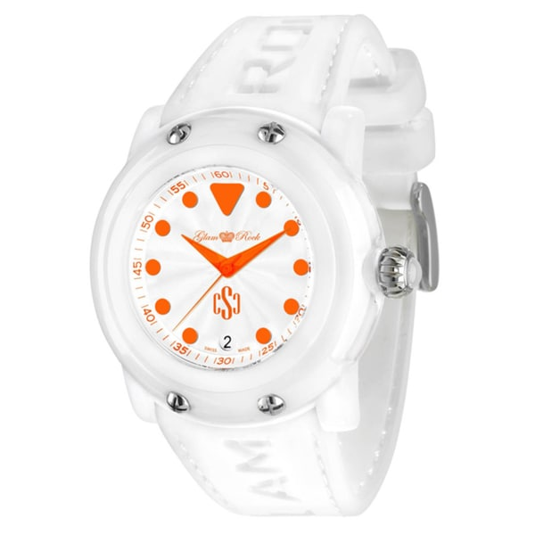 Glam Rock Women's 'Crazy Sexy Cool' White Silicone Watch