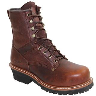 AdTec Men's 9-inch Brown Steel-toe Logger Boots