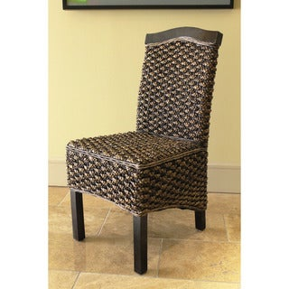 International Caravan Woven Hyacinth 'Maestro' High Back Mahogany Frame Dining Chairs (Set of 2)