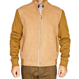 Mantoni Men's Camel Knitted Wool Jacket