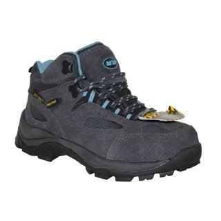AdTec Women's Grey/Blue Steel-toed Work/ Hiker Boots