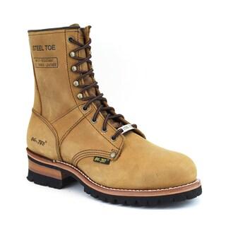 AdTec Men's 9-inch Brown Steel-toed Logger Boots