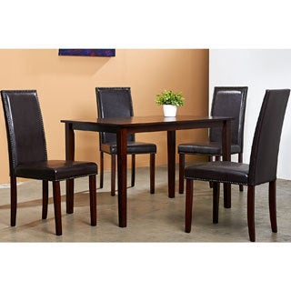Warehouse of Tiffany Blazing Dark Brown Dining Table and 4 Dining Chairs