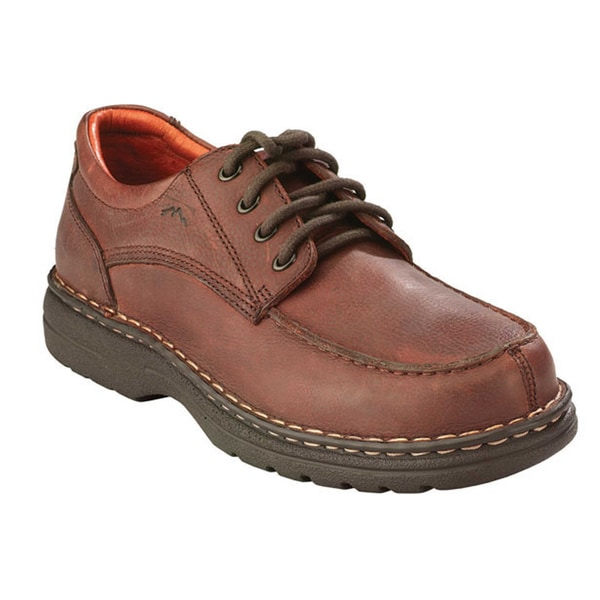 AdTec Men's Chestnut Leather Moc-lace Shoes