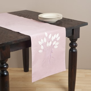 Saro 72-inch Leaf Design Rose Table Runner