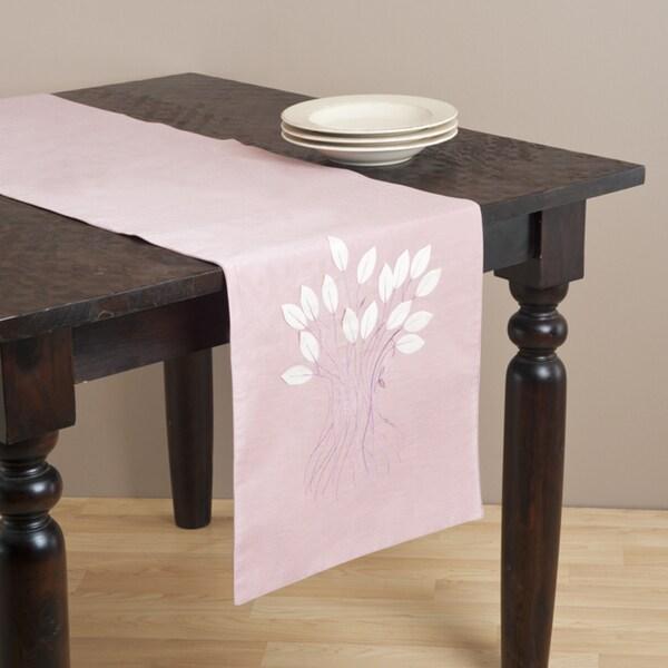 Saro 72-inch Leaf Design Rose Table Runner