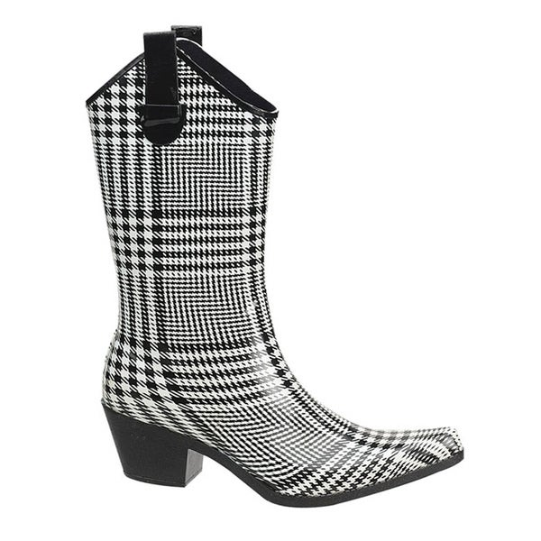 Shaboom Women's 11-inch Black/White Plaid Western Rain Boot