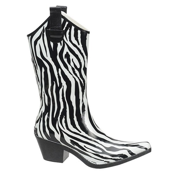 Shaboom Women's 11-inch Zebra Western Rain Boot