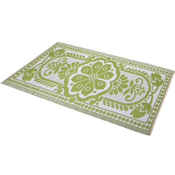 Green/White Indoor/Outdoor Rug (6' x 4') (India)