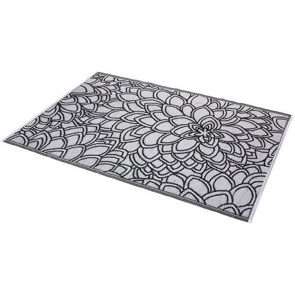 Floral Black and White Indoor Outdoor Rug 6 x 4