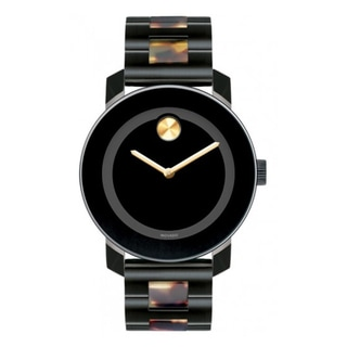 Movado Women's Black Stainless Steel Tortoise Watch