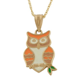 Fremada 14k Yellow Gold Enamel Owl Pendant with Gold Filled Chain (18 inch)