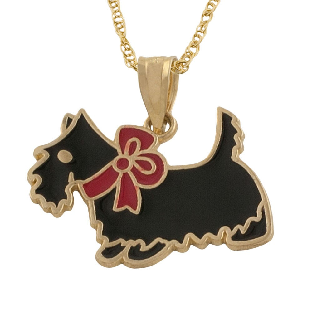 Fremada 14k Yellow Gold Black Enamel with Red Bow Dog Pendant