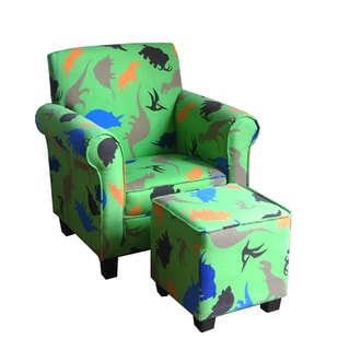 Kid's Green Club Chair and Ottoman Set