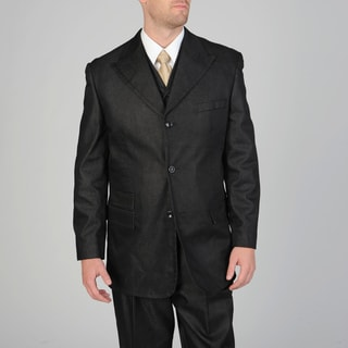 Caravelli Fusion Men's 3-piece Black Vested Suit