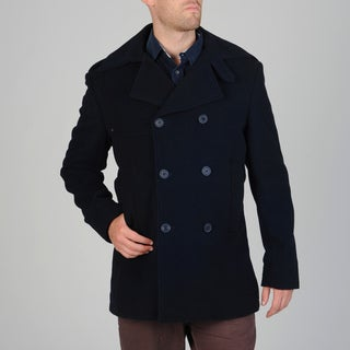West End Men's Navy Double-breasted Wool Blend Peacoat