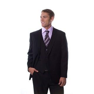 Caravelli Men's 3-piece Black Vested Suit