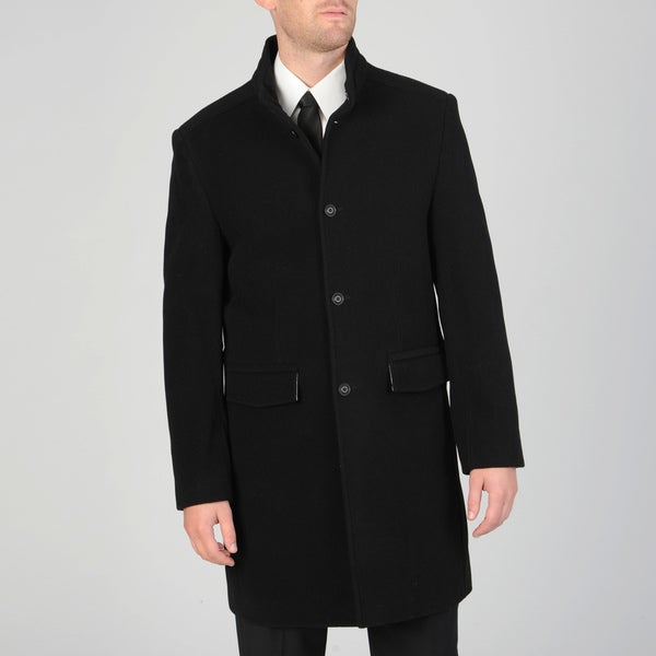 West End Men's Black Wool Blend 3-button Carcoat