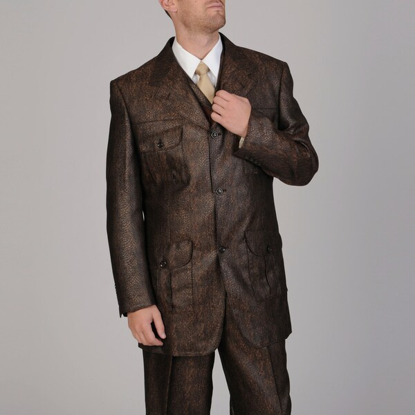 Mecca Men's 3-piece Rust Vested Suit with Fedora