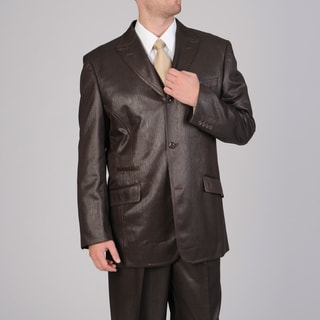 Mecca Men's 3-piece Embossed Brown Vested Suit